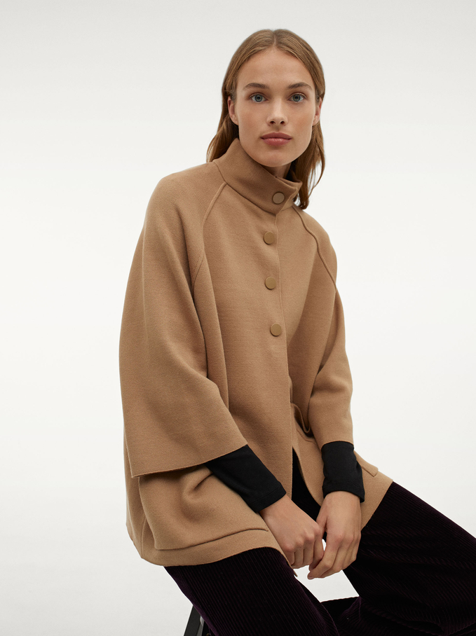 Knit Poncho With High Neck, Camel, hi-res