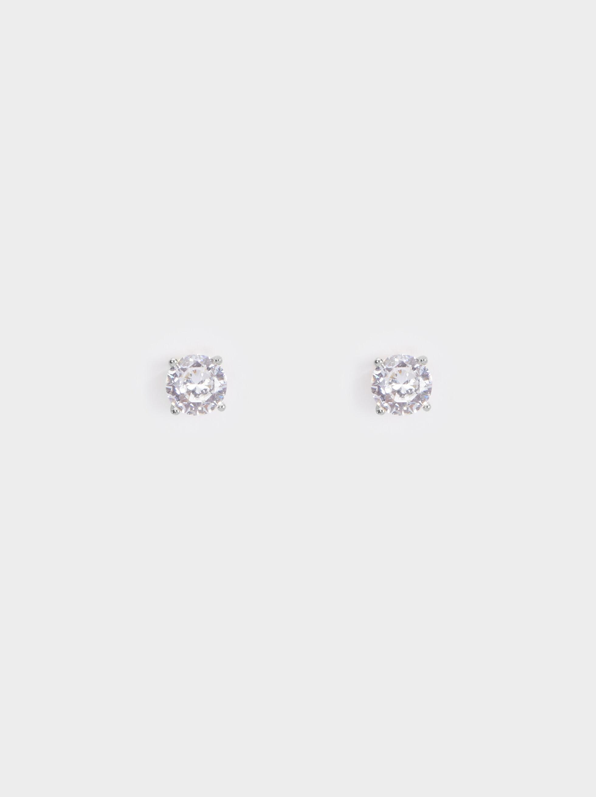 925 Silver Short Rhinestone Earrings, Silver, hi-res