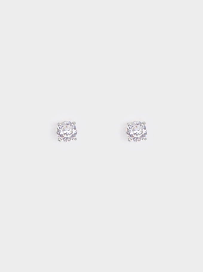 925 Silver Stud Earrings With Zirconia, Silver, hi-res