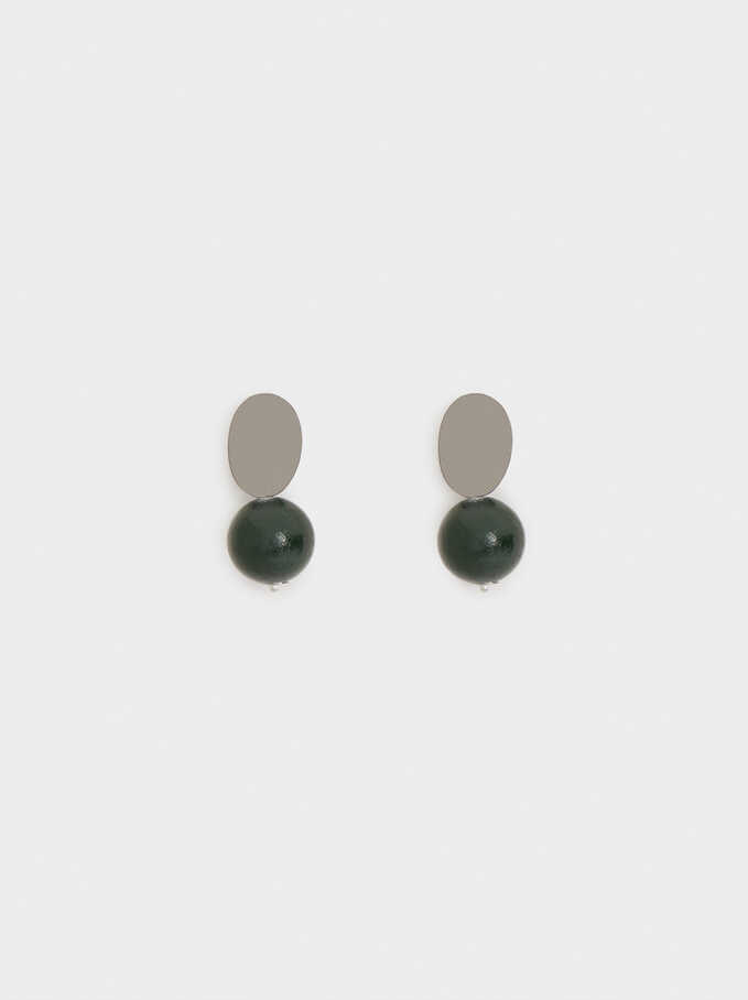 Stone Stud Earrings, Green, hi-res