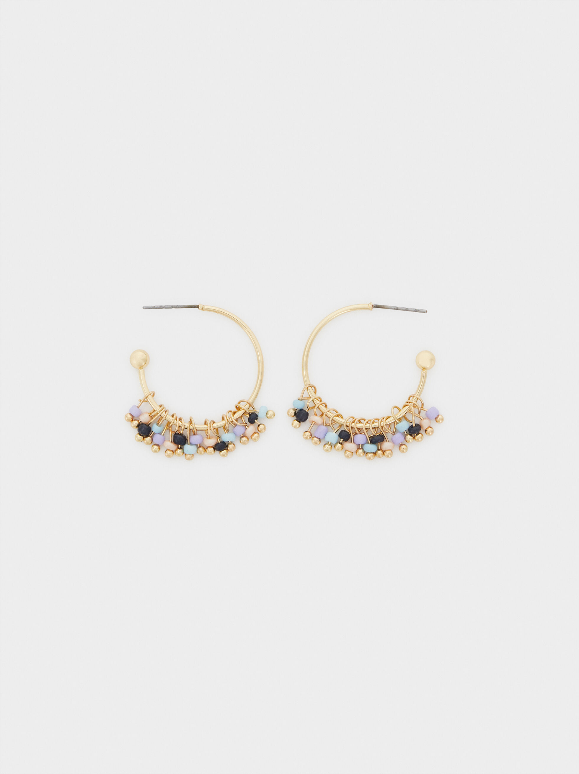 Recife Short Hoop Earrings With Beads, , hi-res