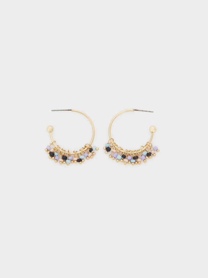 Watercolor Small Hoop Earrings With Beads, Multicolor, hi-res
