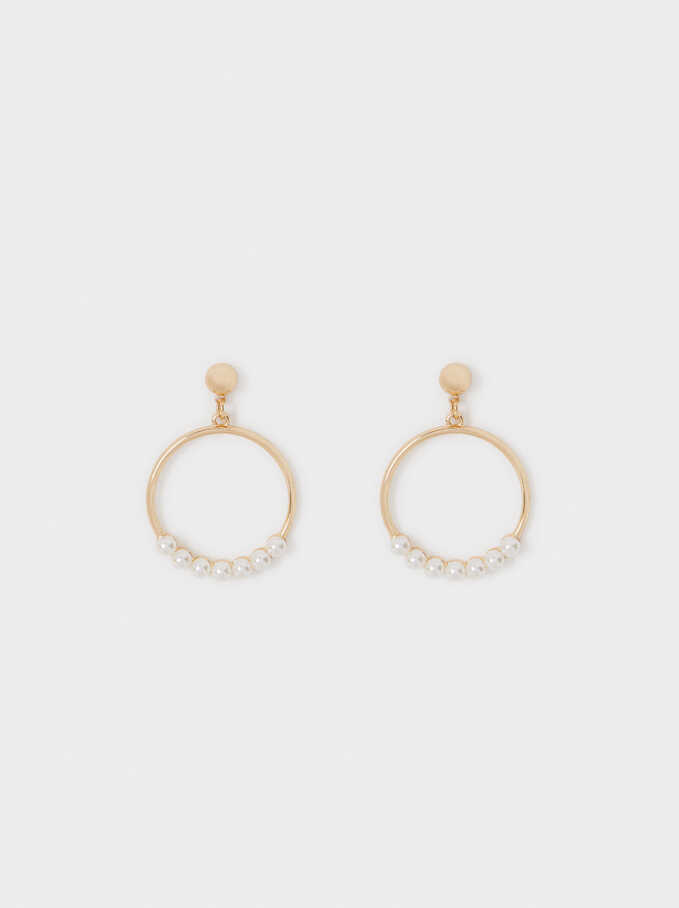 Medium Gold Metal Earrings, Golden, hi-res