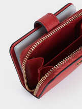 Plain Card Holder Purse, Red, hi-res