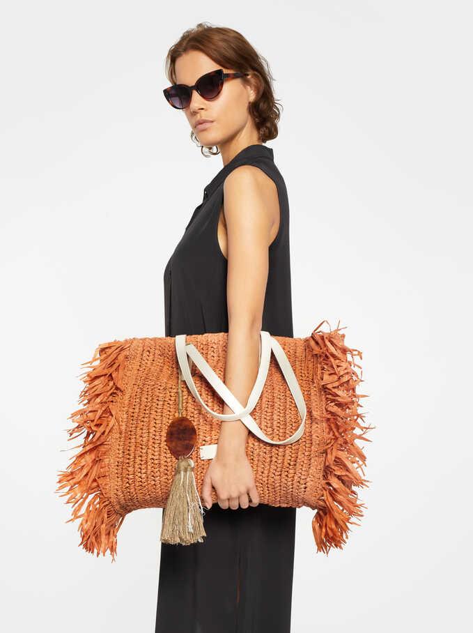 Tote Bag With Fringing, Brick Red, hi-res
