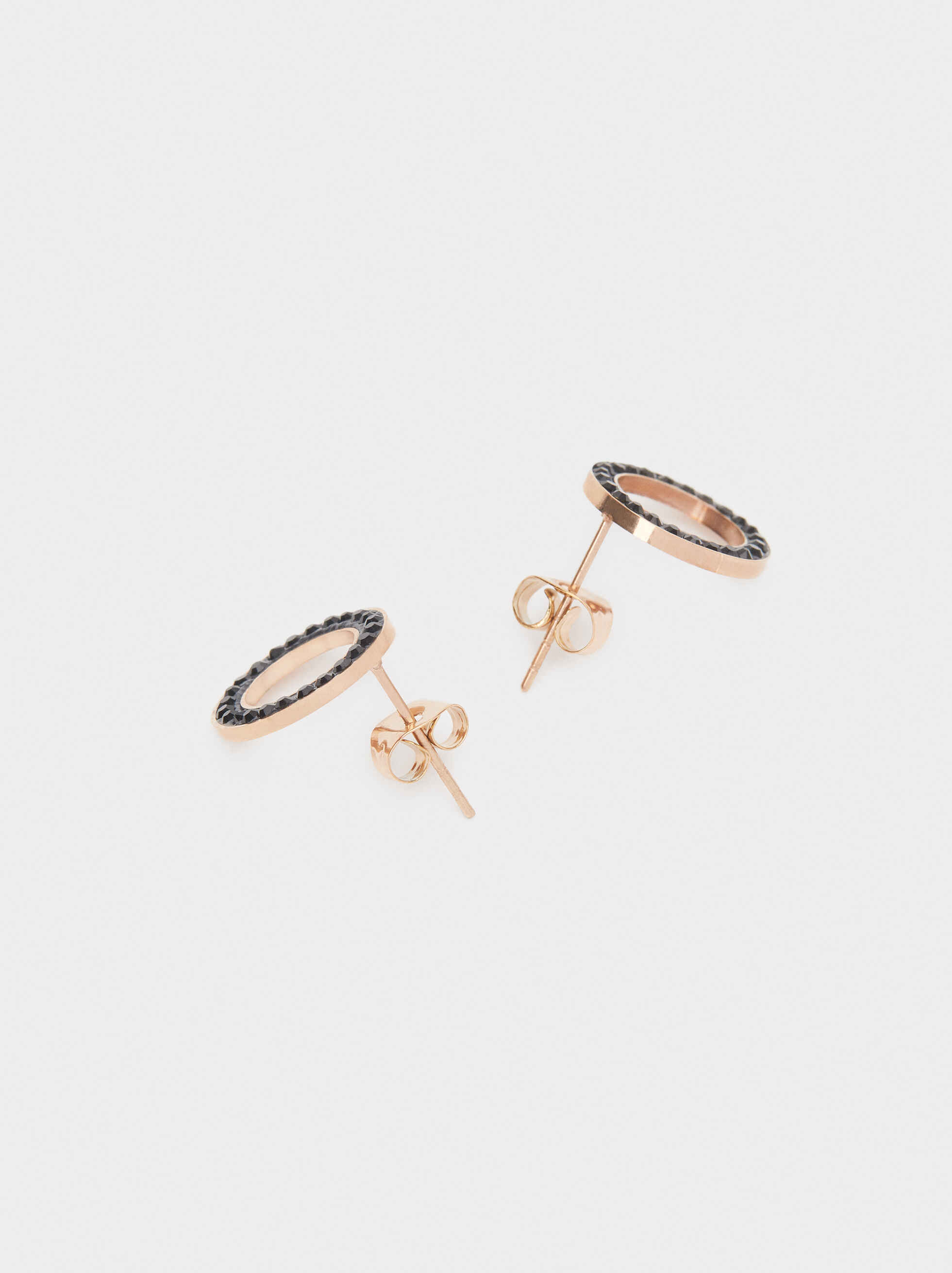 Steel Short Earrings With Rhinestones, Orange, hi-res