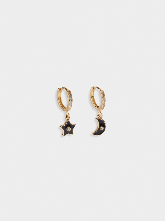 Small Hoop Earrings With Moon And Star, Black, hi-res