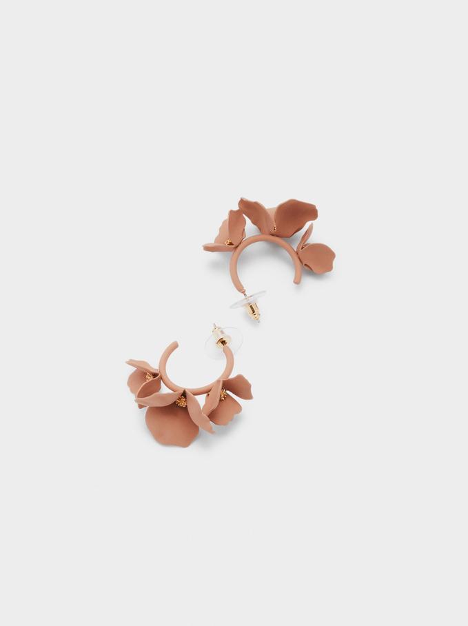 Pendientes De Aro Cortos Con Flor, Rosa, hi-res