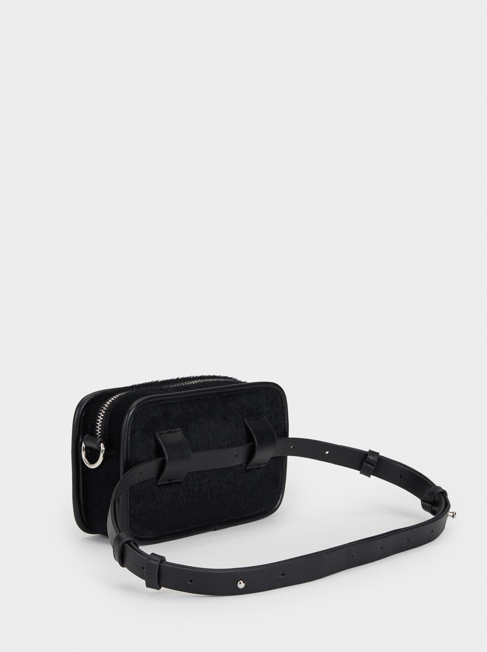 Suede Texture Crossbody Bag, Black, hi-res