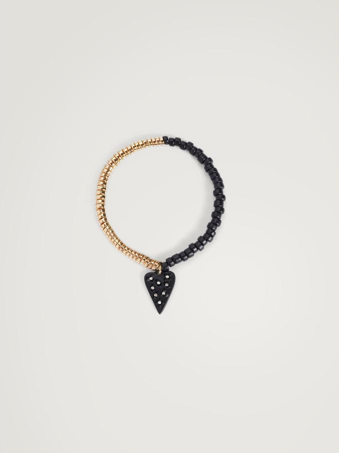 Elastic Bracelet With Heart, Black, hi-res