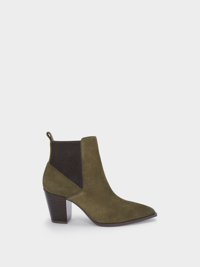 Leather Heeled Ankle Boots, Khaki, hi-res