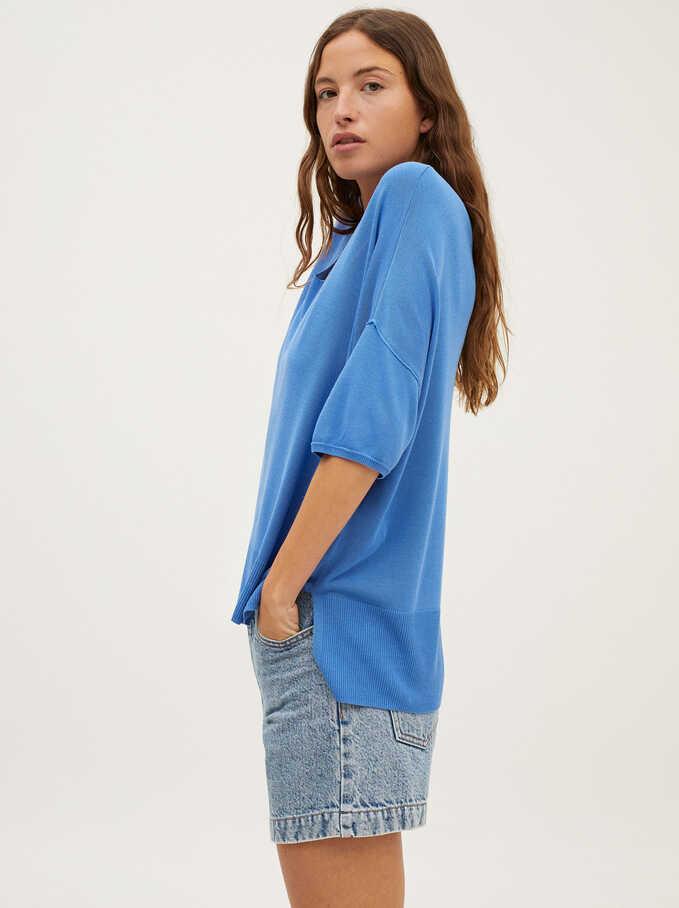 Jersey De Punto Cuello Pico, Azul, hi-res