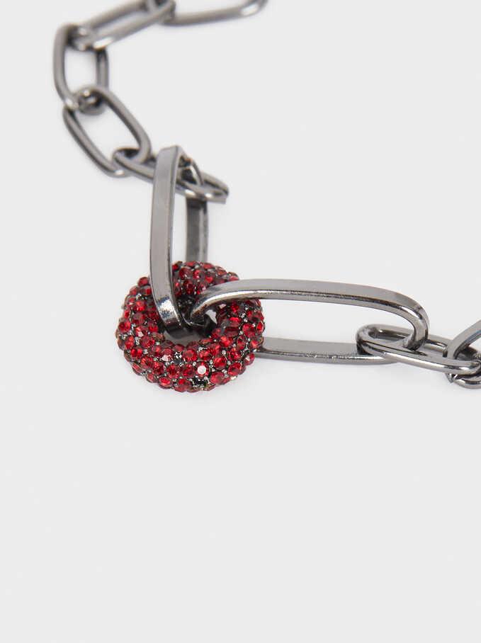 Chain Bracelet With Multicoloured Crystals, Bordeaux, hi-res