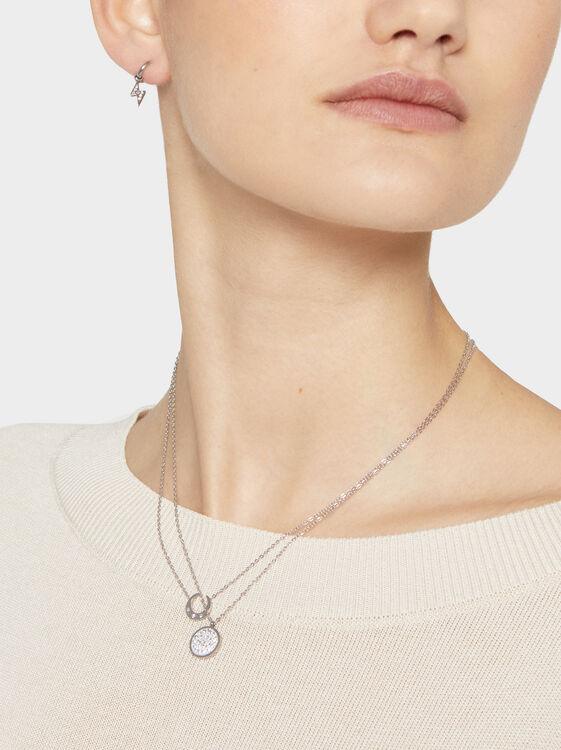 Short Steel Necklace With Rhinestones, Silver, hi-res