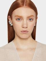 Flower Ear Cuff Earrings, Silver, hi-res