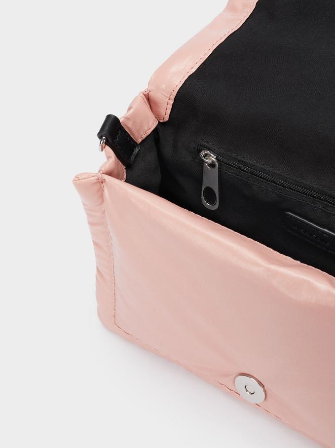 Quilted Shoulder Bag With Removable Strap, Pink, hi-res