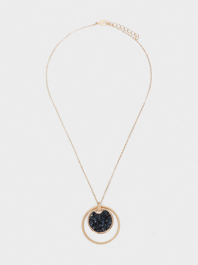 Short Necklace With Stone And Medallion, Blue, hi-res