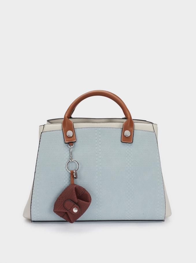 Torba Shopper W Patchworkowy Wzór Z Odpinanym Paskiem, Niebieski, hi-res