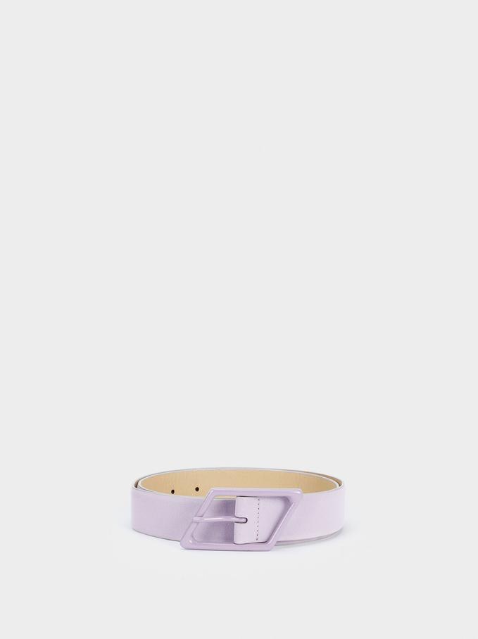 Cinturón Liso Con Hebilla, Violeta, hi-res