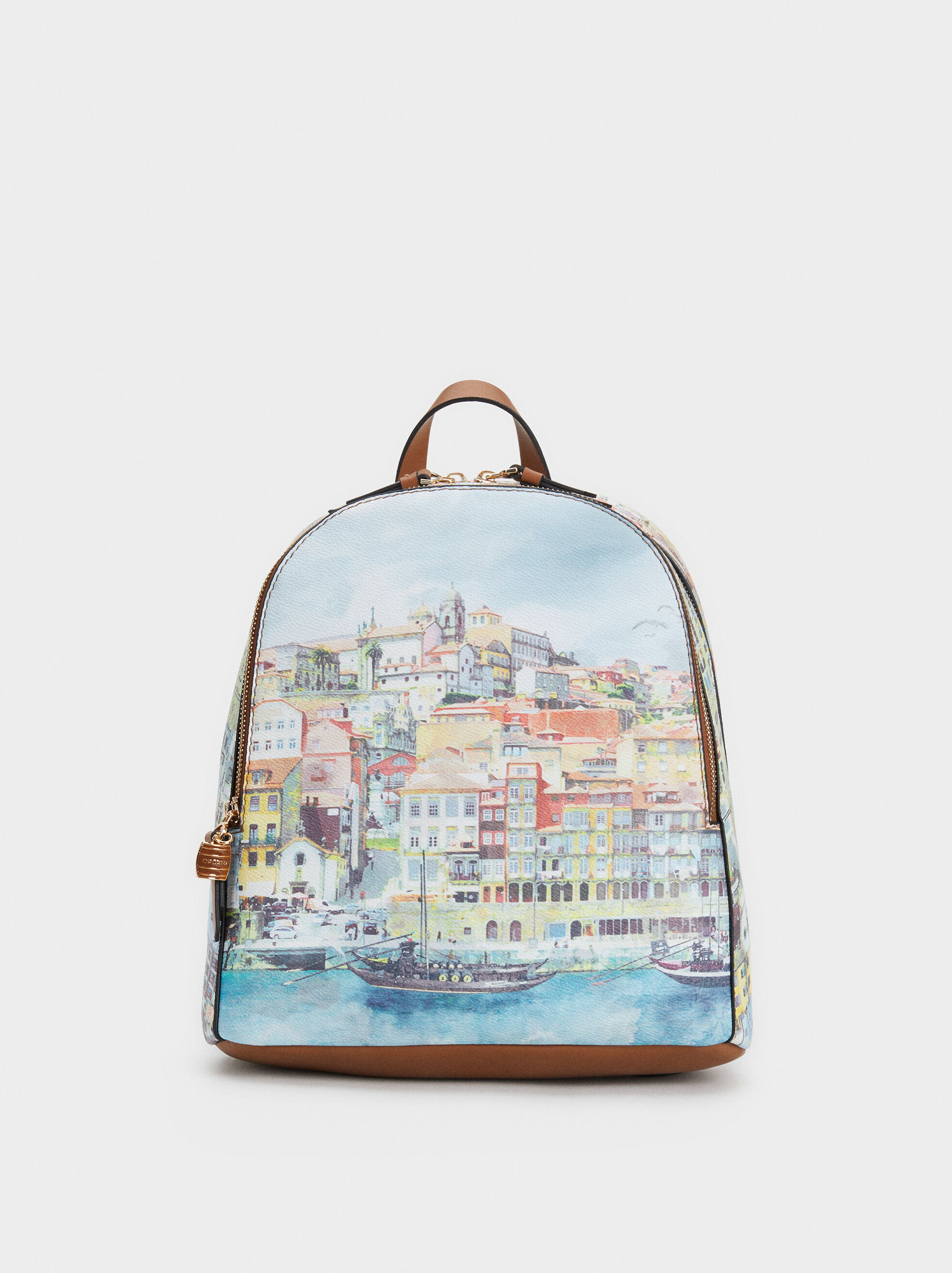 Porto Print Backpack, Blue, hi-res