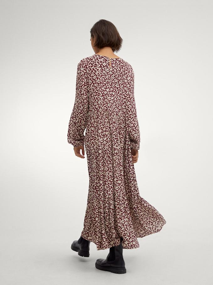 Printed Tiered Dress, Bordeaux, hi-res