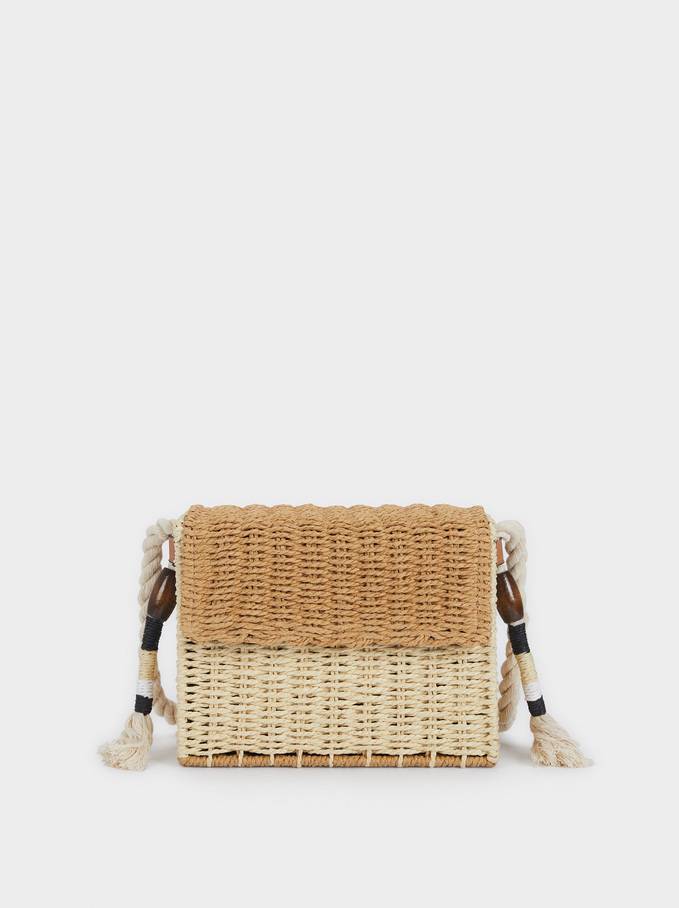 Crossbody Raffia Bag With Flap, Beige, hi-res