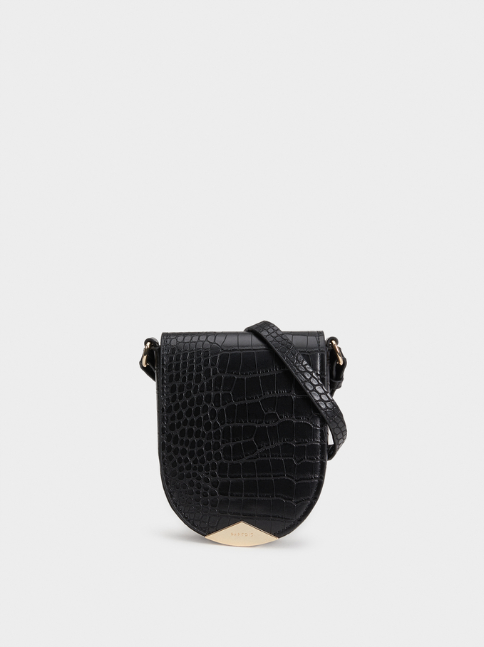Reptile Embossed Crossbody Bag, Black, hi-res