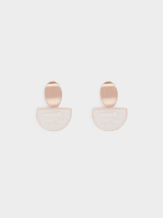 Small Rose Gold Resin Earrings, Beige, hi-res