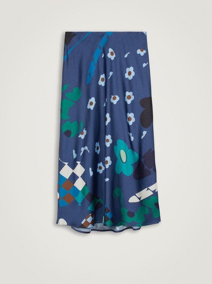 Falda Con Estampado Floral, Azul, hi-res