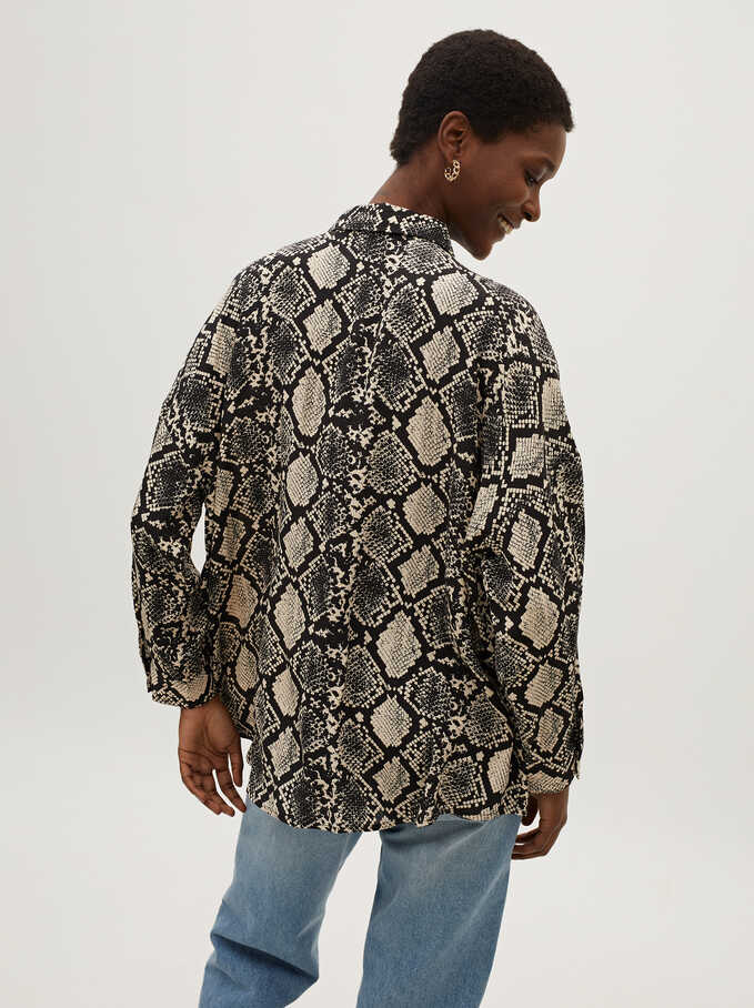 Camisa Fluida Estampado Serpiente, Crudo, hi-res