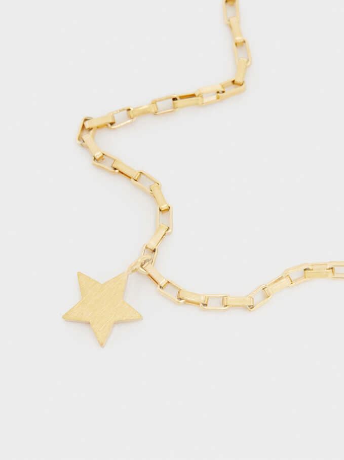 Gold-Toned Steel Bracelet With Star Charm, Golden, hi-res