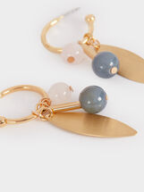 Long Gold Earrings With Gem, Multicolor, hi-res