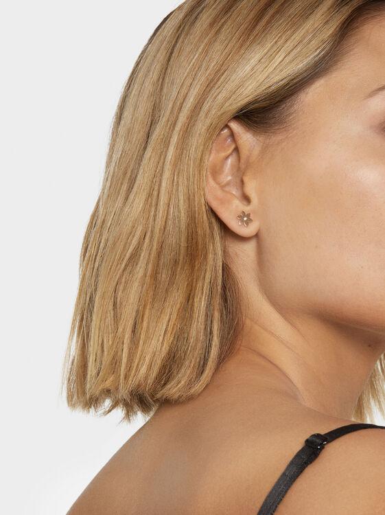 Steel Flower Earrings, Orange, hi-res