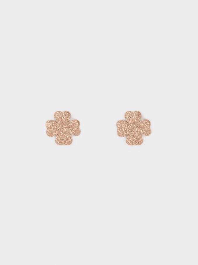 Krótkie Kolczyki Koniczynki Ze Stali W Kolorze Zlotym , Pomaranczowy, hi-res