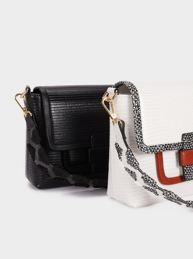 Handbag With Front Flap Fastening, White, hi-res