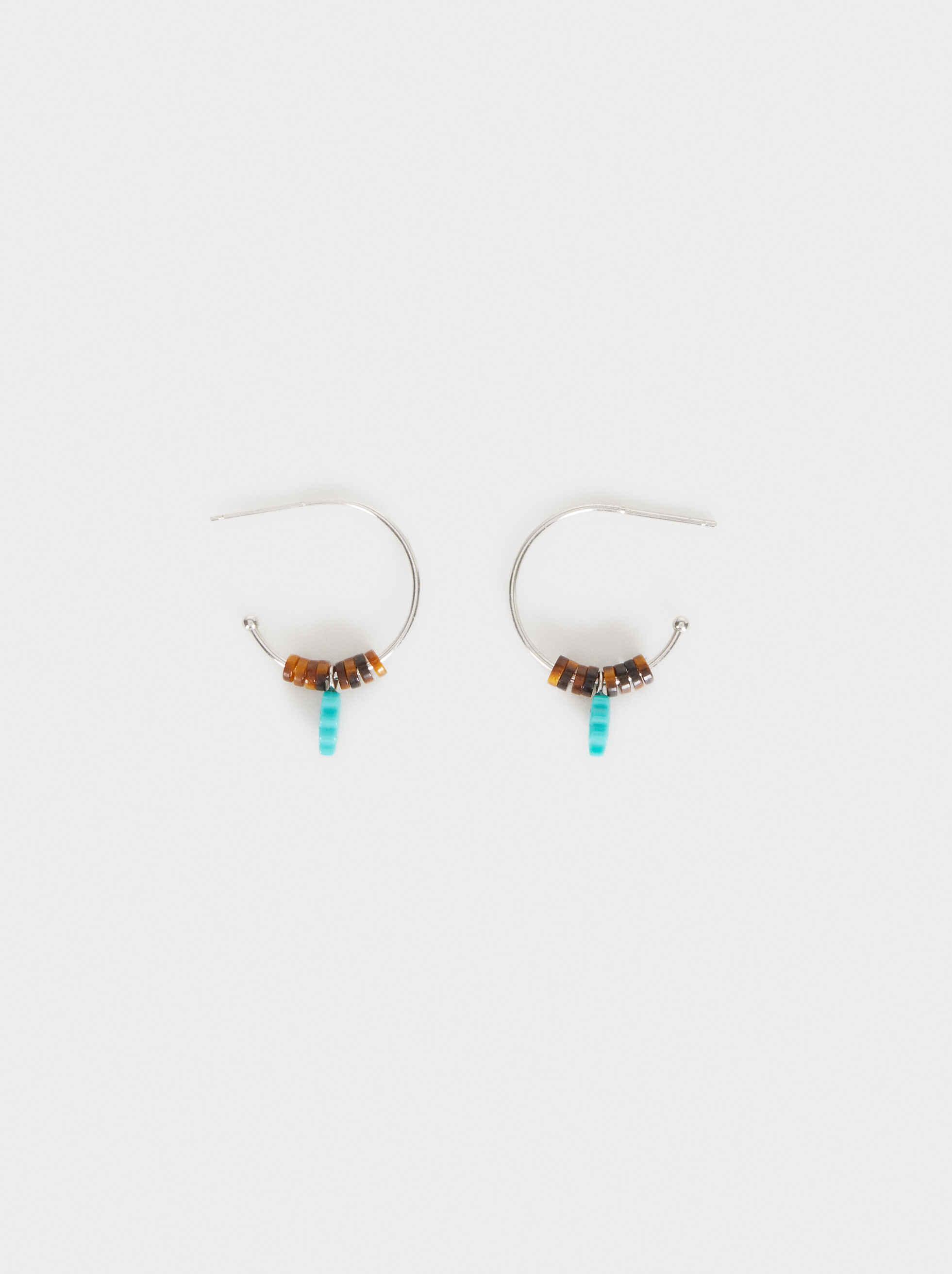 925 Silver Small Beaded Hoop Earrings, Beige, hi-res