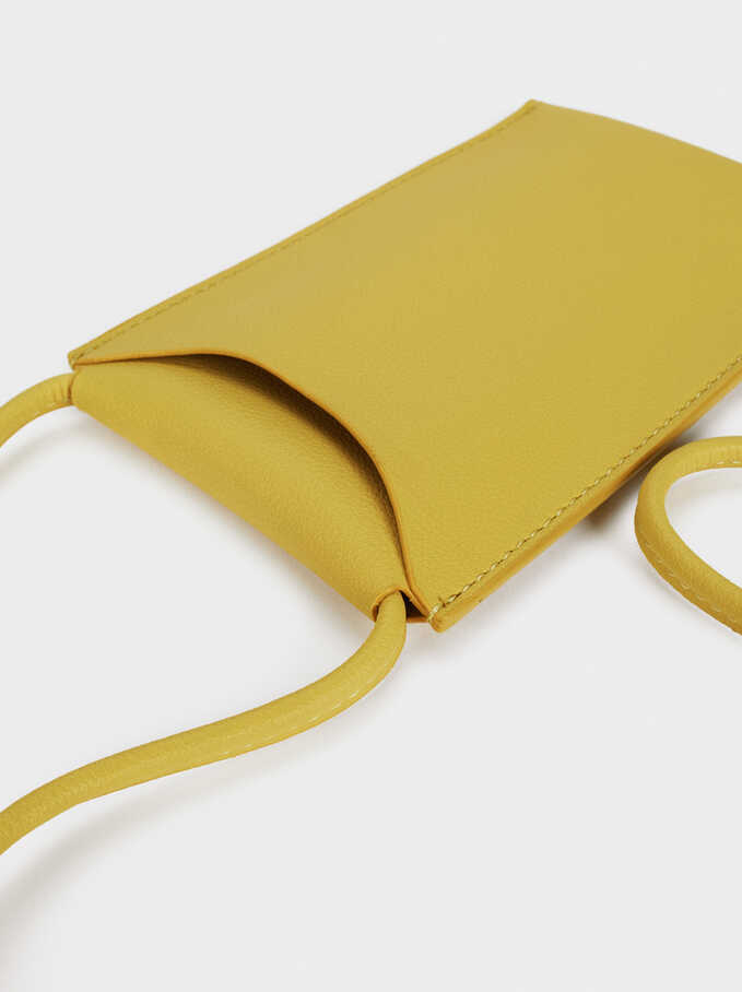 Phone Case With Shoulder Strap, Yellow, hi-res