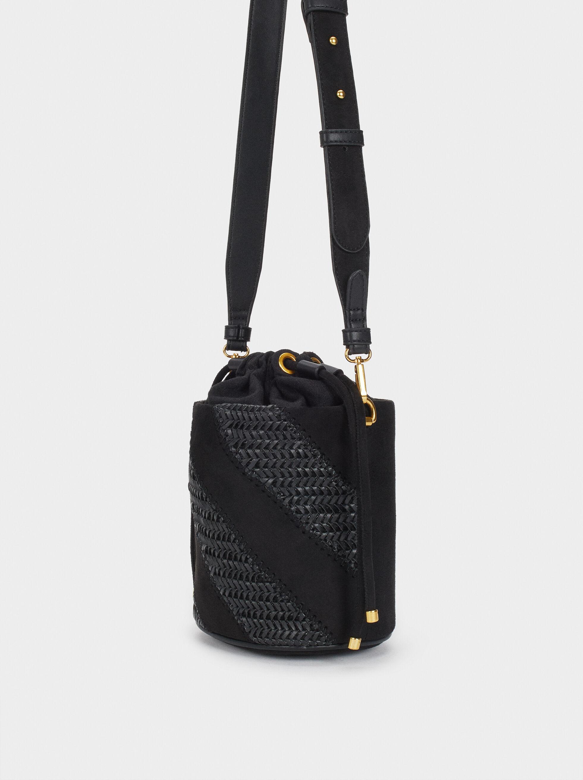 Braided Handbag, Black, hi-res