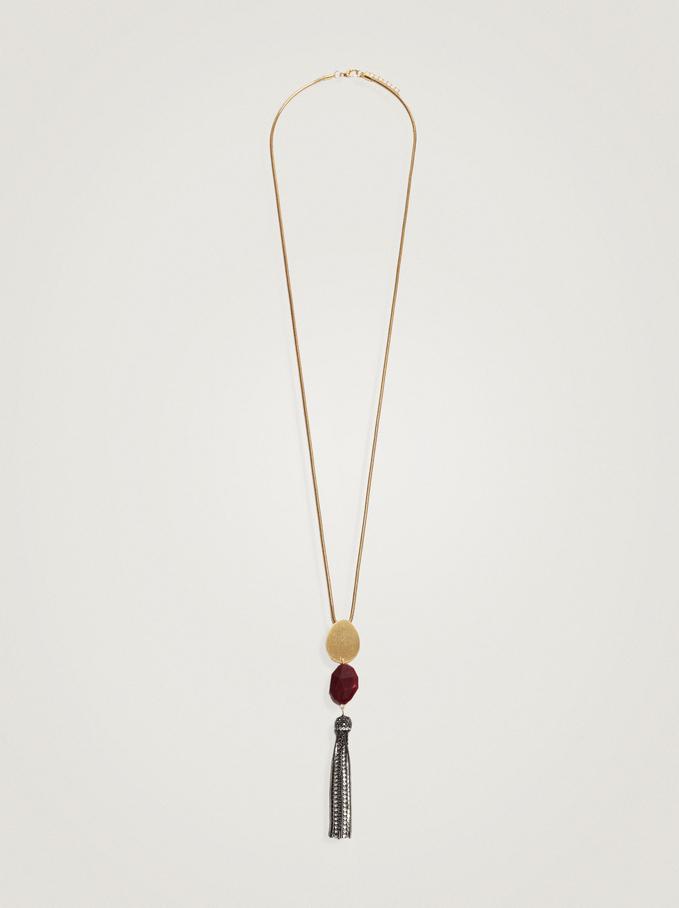 Long Necklace With Pendant, Bordeaux, hi-res