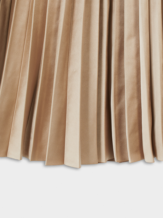 Pleated Skirt With An Elastic Waistband, Golden, hi-res