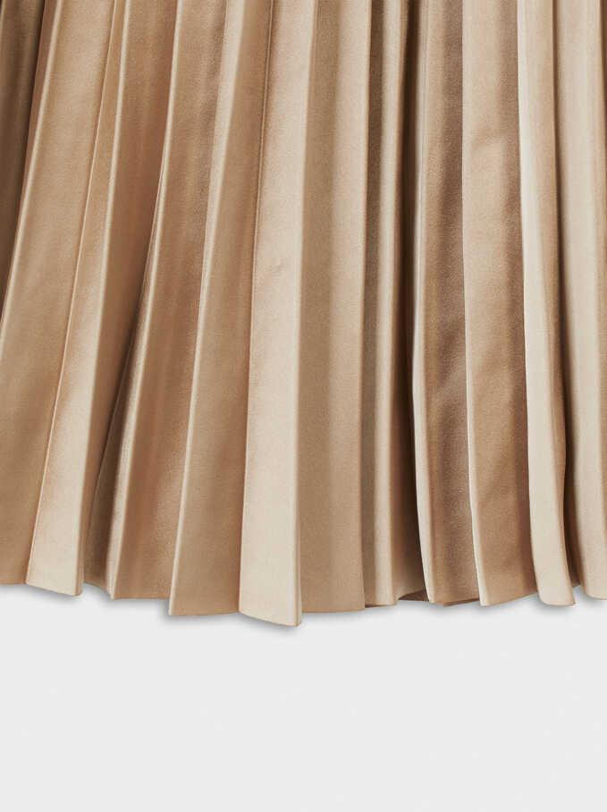 Pleated Skirt With An Elastic Waistband, Golden, hi-res