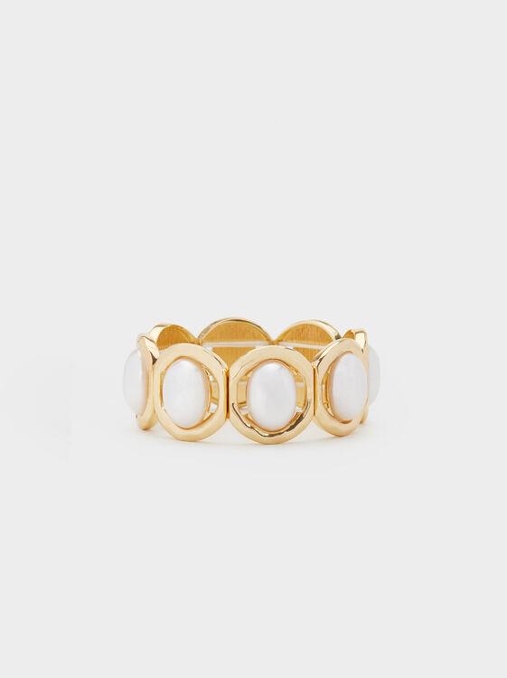 Fancy Pearls Elastic Bracelet, White, hi-res