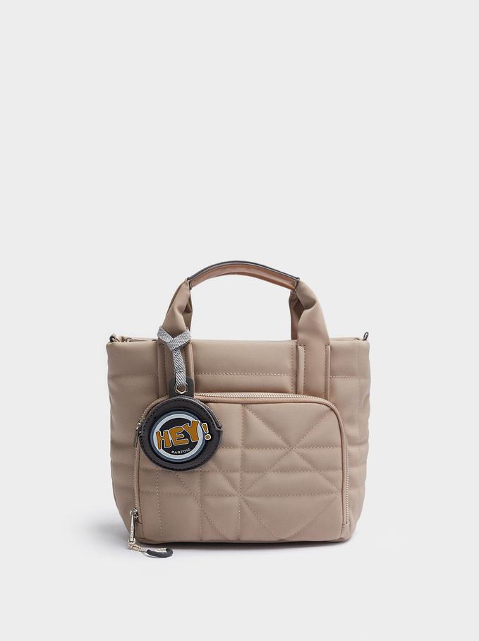 Bolso Shopper Textura Ante Con Colgante, Crudo, hi-res