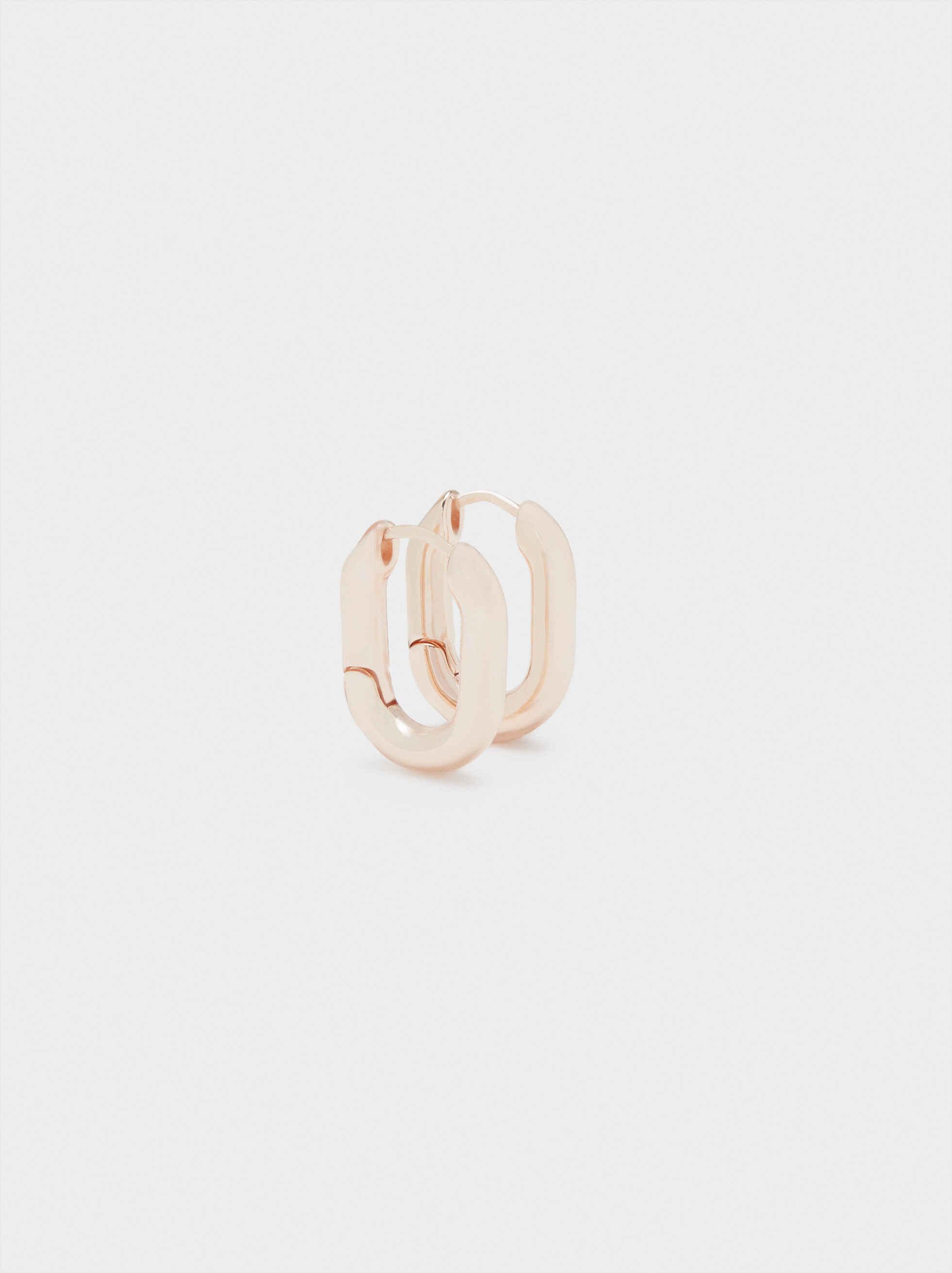 Rose Gold Square Hoop Earrings, Orange, hi-res