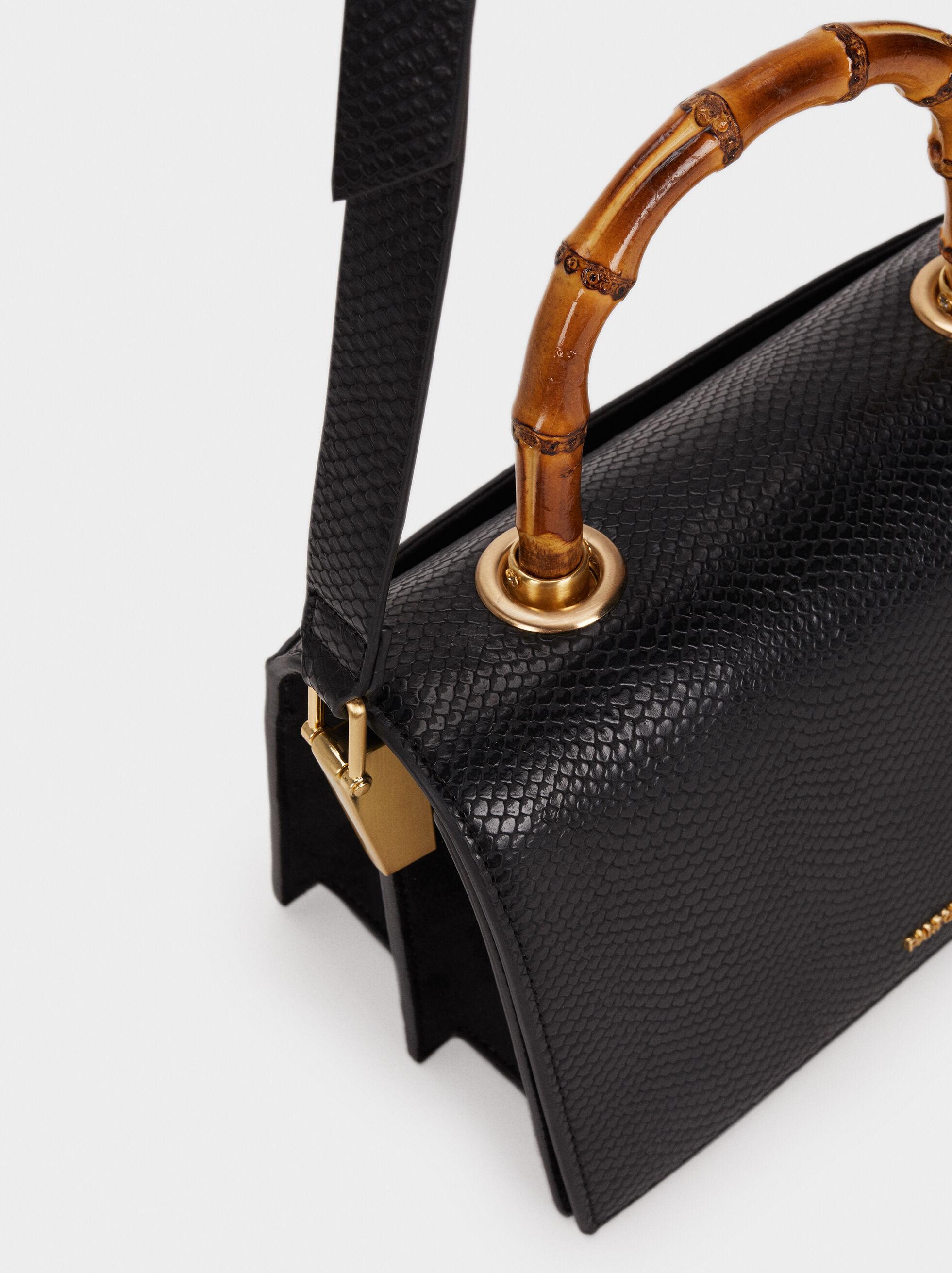 Shoulder Bag With Bamboo Handle, Black, hi-res