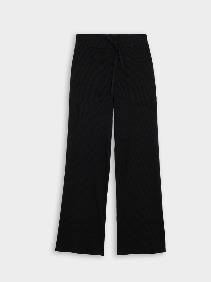 Knit Straight Trousers, Black, hi-res