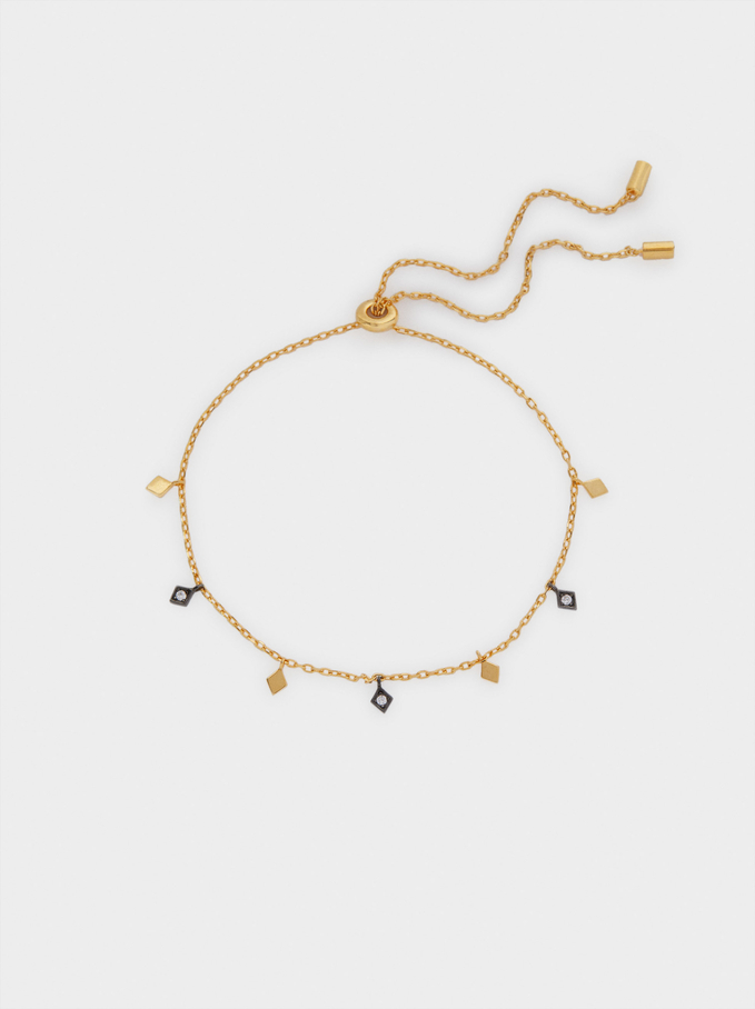 Adjustable 925 Silver Bracelet With Zirconia, Golden, hi-res