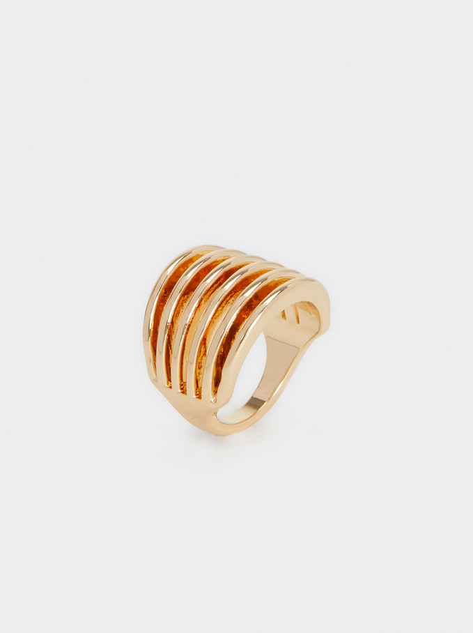 Wide Gold Band Ring, Golden, hi-res