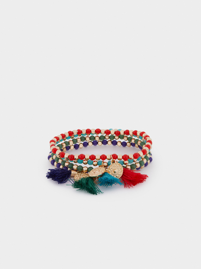 Set Of Elastic Bracelets With Beads, Multicolor, hi-res