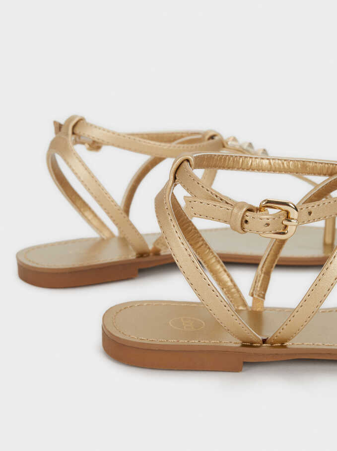 Flat Sandals With Stud Details, Golden, hi-res
